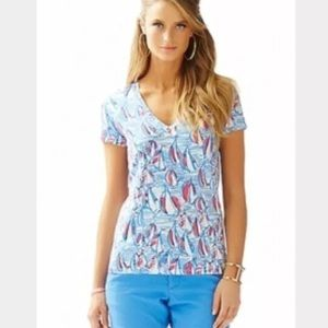 Lilly Pulitzer Michele Top Red Right Return Blue S